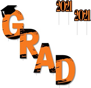 product image for Big Dot of Happiness Orange Grad - Best is Yet to Come - Yard Sign Outdoor Lawn Decorations - Orange 2021 Graduation Party Yard Signs - Grad