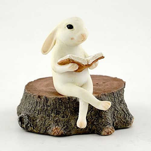 Top Collection Miniature Fairy Garden Terrarium Bunny Reading on Stump Statue, Small