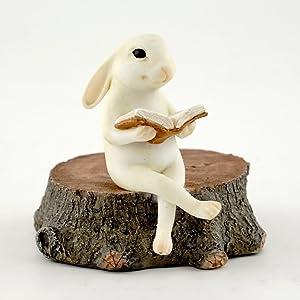 Top Collection Miniature Fairy Garden & Terrarium Bunny Reading on Stump Statue, Small