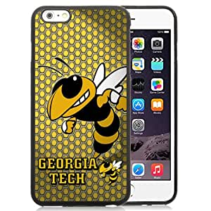 Fashionable And Unique Custom Designed With NCAA Atlantic Coast Conference ACC Footballl Georgia Tech Yellow Jackets 2 Protective Cell Phone Hardshell Cover Case For iPhone 6 Plus 5.5 Inch Black
