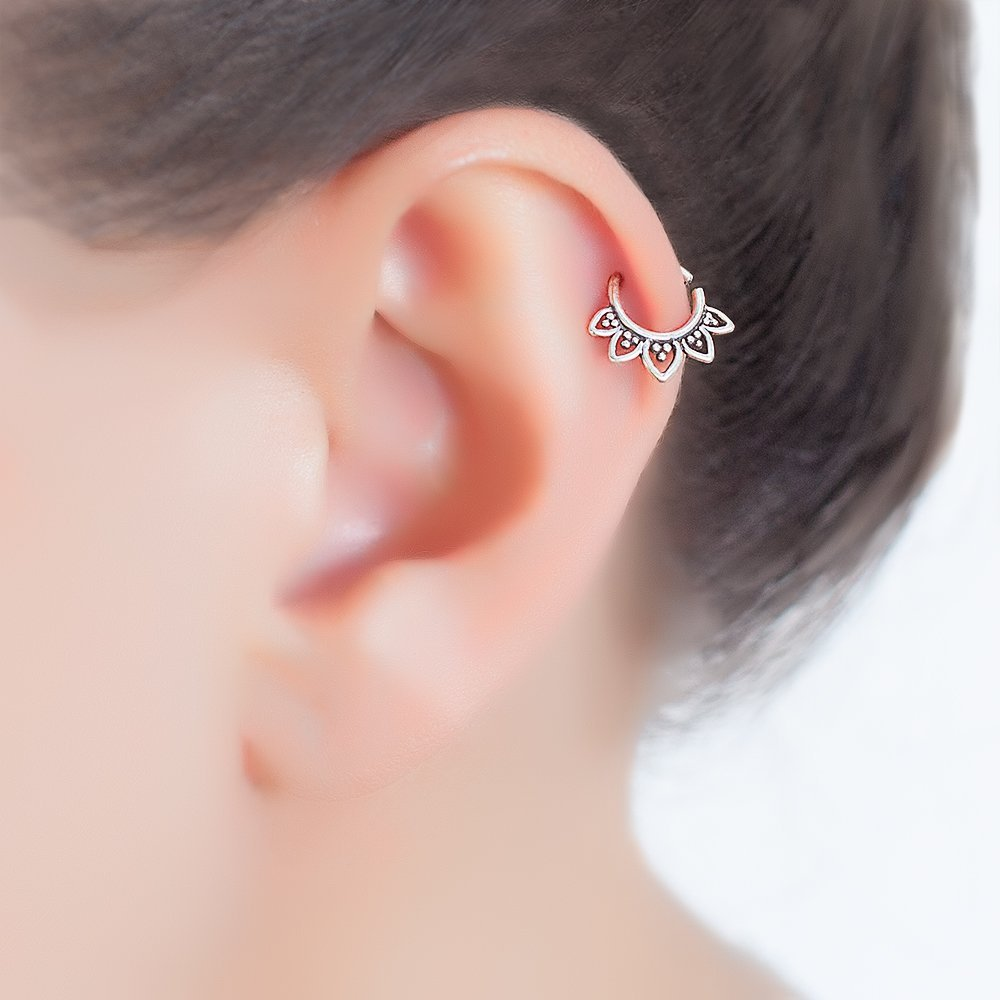 Sterling Silver Tragus Earring, Tribal Indian Hoop Ring Piercing, Lotus Shaped, fits Helix, Cartilage, Rook, 20g, Handmade Jewelry