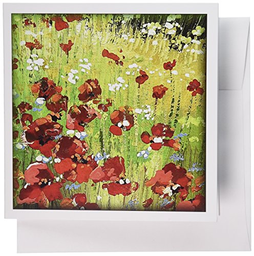 3dRose Painted Red Poppy - Greeting Cards, 6 x 6 inches, set of 12 (gc_41463_2) (Birthday Card Poppies)