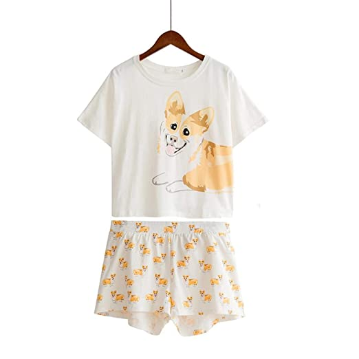 2e4265a2f2 Women s Corgi Dog Print Sets 2 Pieces Pajama Suits Stretchy Loose Tops Plus  Size Elastic Waist at Amazon Women s Clothing store