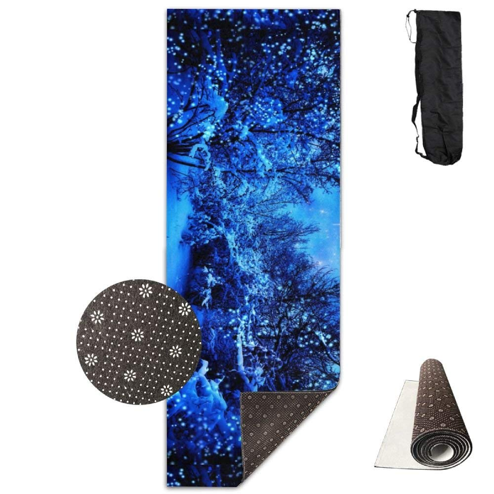 Winter Snow Starry Stars Blue Night Sparkle Cold Moon Deluxe,Yoga Mat Aerobic Exercise Pilates Anti-Slip Gymnastics Mats