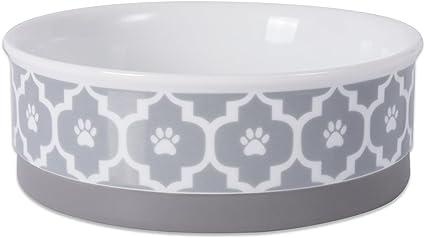 Medium Pet dish stoneware farmhouse style feeding Ceramic pet bowl dog bowl with Paw prints- Cobalt blue Pottery dog bowl pets