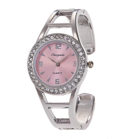 YAZILIND cuarzo reloj de pulsera incrustado rhinestone dial reloj de aleación pulsera abierta para mujeres niñas