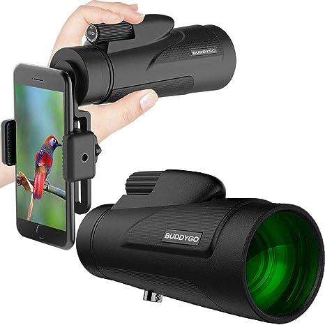 12X50 monocular telescopio, zoom lente monoculares alcance para adultos con adaptador para smartphone y trípode-alcance de detección impermeable ligero para adultos observación de aves, viajando: Amazon.es: Deportes y aire libre