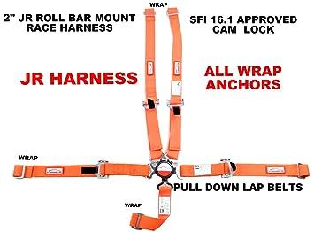 SFI 16.1 Race Harness 5 Point CAM Lock Buckle V ROLL BAR Mount Bolt in Application Color Orange