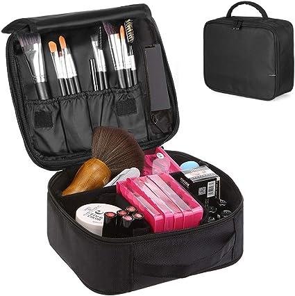 Neceser Maquillaje, Bolsa de Cosméticos Organizador Estuche de Maquillaje Profesional con Compartimento Separable para Hogar Vacaciones Viaje de Negocios Equipaje (Negro): Amazon.es: Belleza