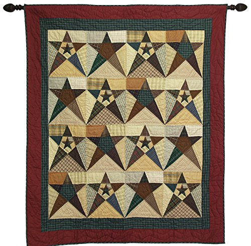Primitive Star Large Wall Hanging Throw Quilt 50 Inches by 60 Inches 100% Cotton Handmade Hand Quilted Heirloom Quality Christmas Patchwork Wall Hangings