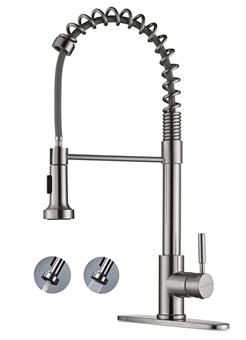 MQWOX Single Handle Kitchen Faucets with Pull Down Sprayer Spring Brushed  Nickel Brass Body, High Arc Pull Out Spray Single Level Kitchen Sink Faucet  ...