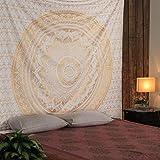 RAJRANG Golden Ombre Tapestry Bedding Mandala Tapestry Queen Indian Mandala Gold Tapestries Wall Art Hippie Wall Hanging Bohemian Bedspread