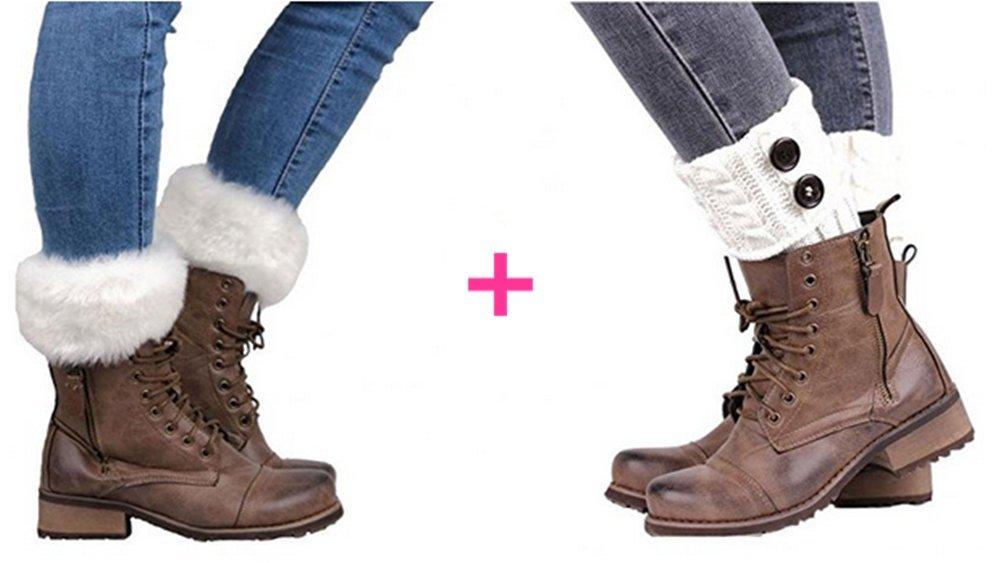 LIWEIKE 2 Pairs Women Winter Leg Warmer Knit Button Furry Boot Cuffs Socks Short