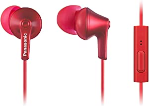 Panasonic ErgoFit Earbud Headphones with Microphone and Call Controller Compatible with iPhone, Android and BlackBerry - RP-TCM125-R - in-Ear (Red), S/M/L Included