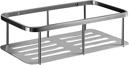 Estante con ventosa para la ducha sin tornillos de rectangular UMI Aluminio anodizado