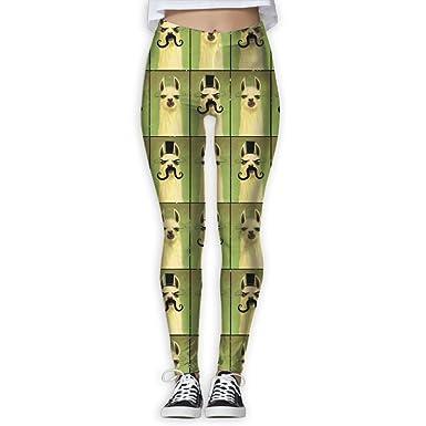 e20dd6aa86c7 Summer Fashion Mustache Llama Funny Women s Activewear High-Waist Tights  Leggings Yoga Pants S