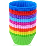 36 Pack Silicone Baking Cups, Reusable Silicone Muffin Liners, Nonstick Cupcake Liner, for Cake Balls, Muffins, Cupcakes and