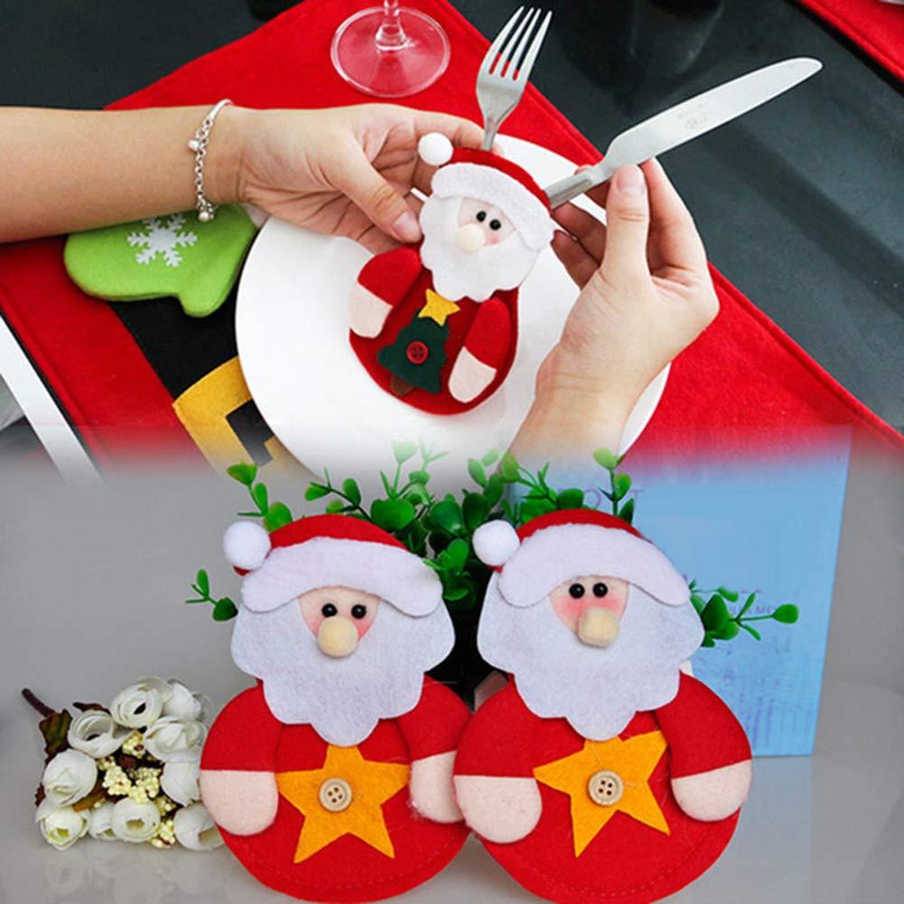 CHoppyWAVE Cutlery Pouch, Santa Snowman Cutlery Holder Utensil Bag Fork Knife Pocket Xmas Table Decor - Snowman by CHoppyWAVE (Image #5)