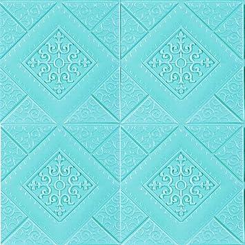 Icegrey 5 Pcs 3d Tapete Selbstklebend Wandpaneele Wasserdicht Wandtattoo Anti Kollision Wallpaper Fur Badezimmer Balkon Raufasertapete Kuchen Fliesen 70x70 Cm Blau Amazon De Baumarkt