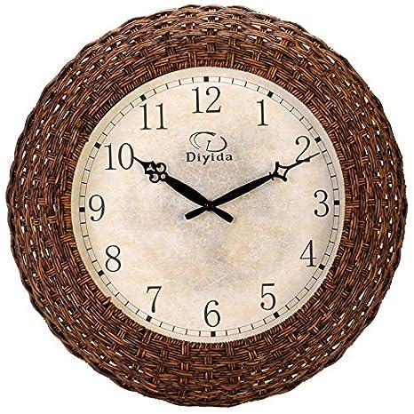 Reloj de pared de rattan adición de verano Relojes minimalistas Reloj de cuarzo Mute salón cocina reloj de pared: Amazon.es: Hogar