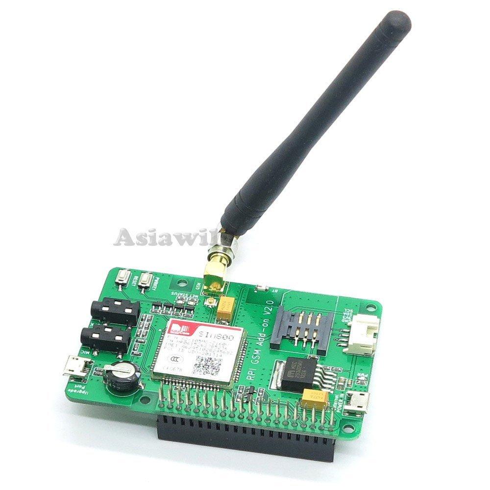 Asiawill Raspberry PI SIM800 GSM//GPRS ADD-ON V2.0 Module GSM//GPRS compatible avec Raspberry Pi