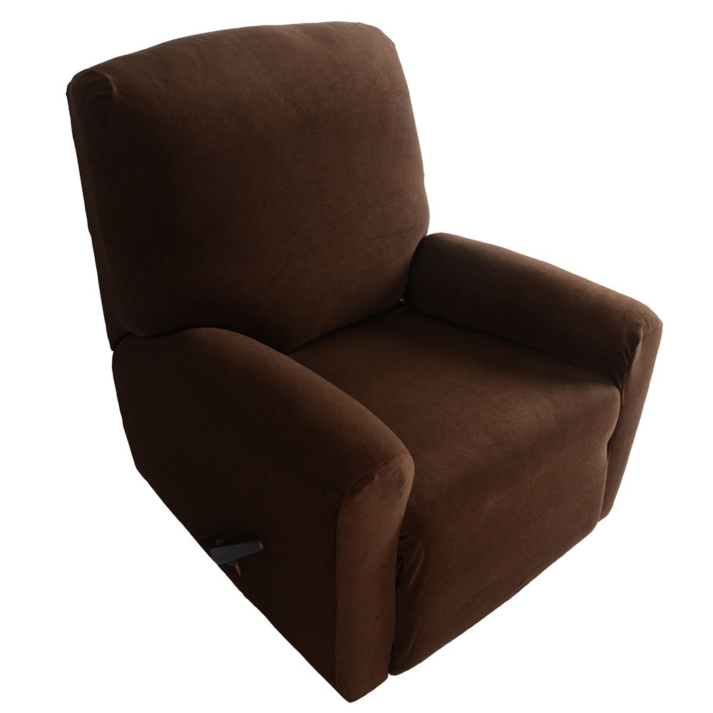 Anself Elastic Soft Polyester Spandex One Seater Recliner Cover, Brown (4pcs/Set) TRTAZ11A