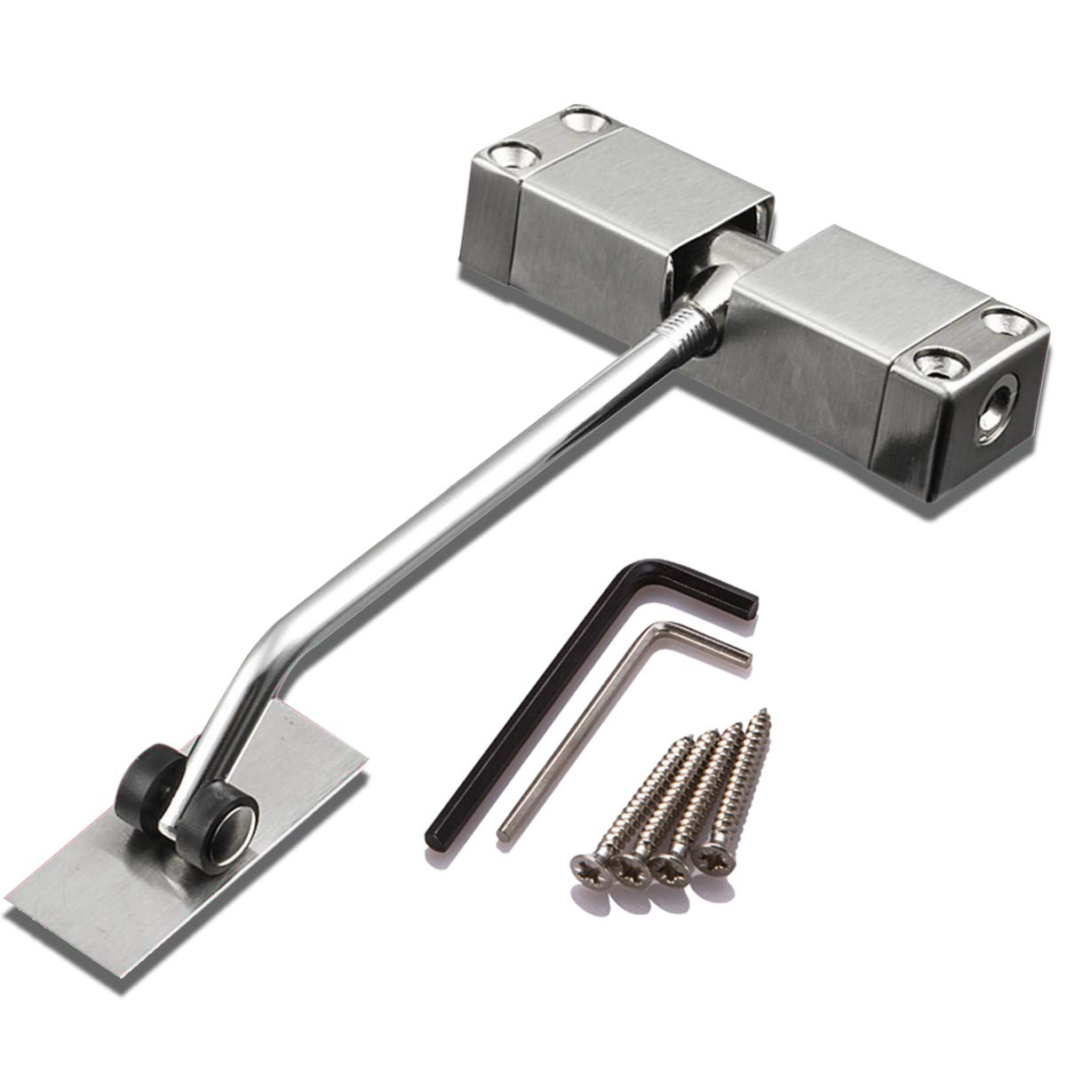 SIXDEFLY Automatic Mounted Spring Door Closer Stainless Steel Adjustable Surface Self Closing Door for Residential/Commercial Use
