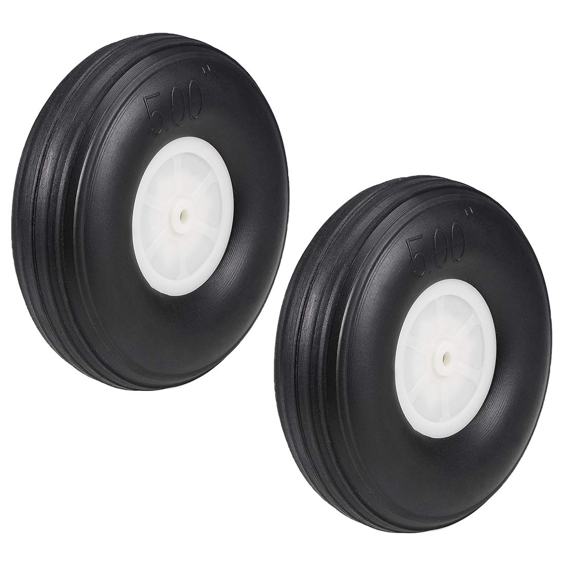 uxcell Tire and Wheel Sets for RC Car Airplane,PU Sponge Tire with Plastic Hub,5 2pcs