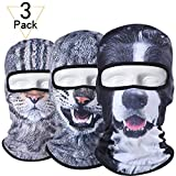 JIUSY 3 Pack - 3D Animal Balaclava Head Cove Hood Face Mask Protection Wind Dust Snow UV for Hunting Fishing Skiing Snowboard Bicycle Riding Driving Motorbike Cold Weather Winter Sport BNB-100-114-117