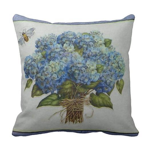 Kinhevao Cojín Hermoso hortensias Azules con Almohada ...