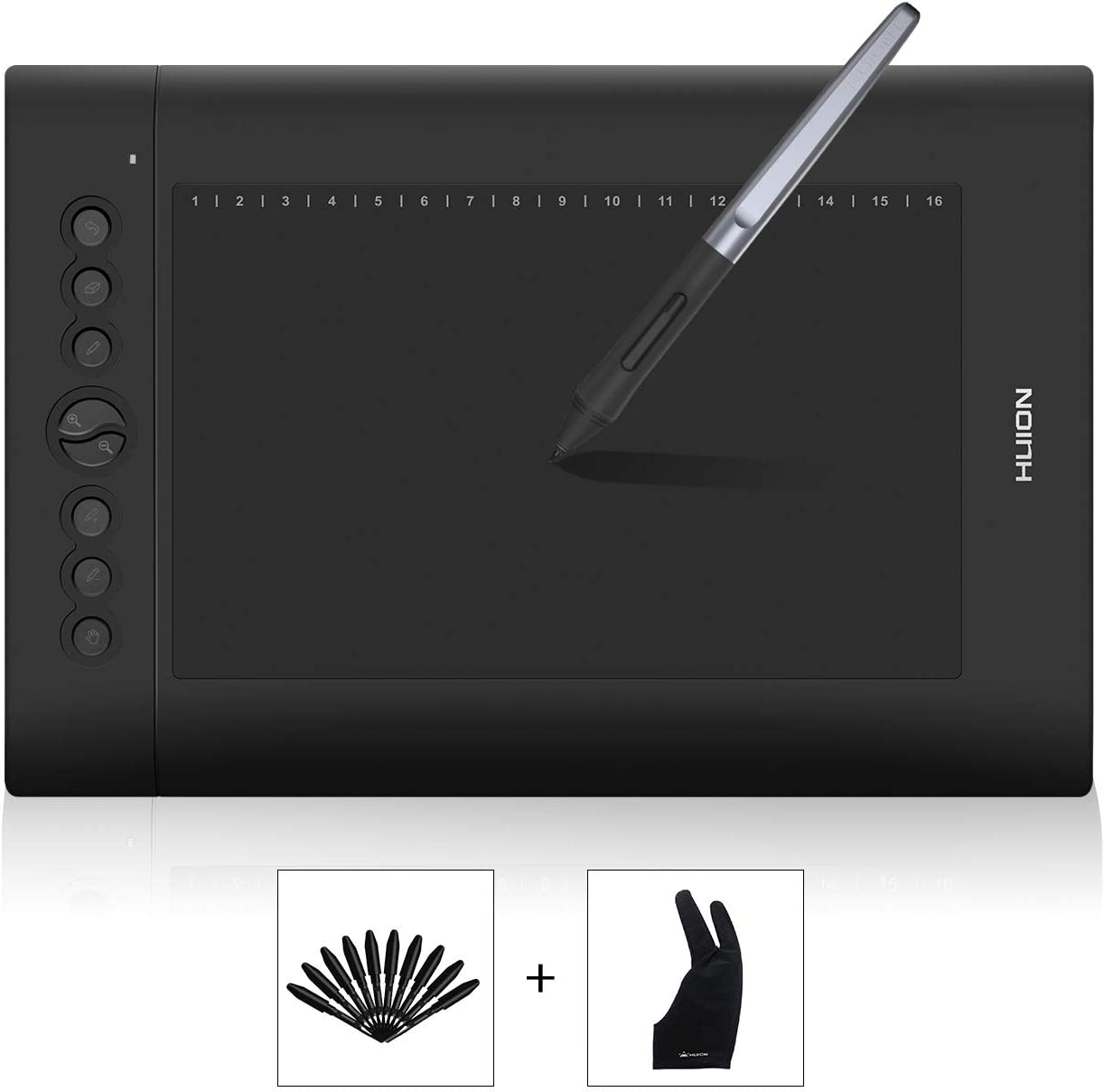 Amazon Com Huion H610pro V2 10 X 6 25 Inch Graphics Tablet Drawing Tablet With 8192 Battery Free Stylus Tilt Function 8 Shortcut Keys Compatible With Mac Pc Or Android Mobile Computers Accessories