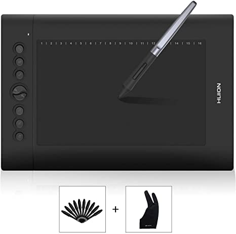 Huion H610 Pro Graphic Drawing Tablet 8192 Pen Pressure Sensitivity with Bag and