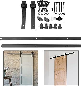 200CM / 6.6 FT Hardware Rail Kit para puerta corrediza, puerta corrediza, herrajes para puertas corredizas interiores, juego completo para puertas corredizas, puertas interiores: Amazon.es: Bricolaje y herramientas