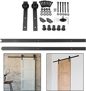200CM / 6.6 FT Hardware Rail Kit para puertas corredizas, puertas corredizas, herrajes para puertas correderas interiores, juego completo para puertas corredizas, puertas interiores, forma redonda, acero inoxidable: Amazon.es: Bricolaje y herramientas