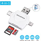 GOLDFOX SD Card Reader, Micro SD TF USB C Card Reader for iPhone iPad Android Mac PC, 4 in 1 Memory Card Reader Adapter with Lightning Micro USB Type C and Standard USB Connector