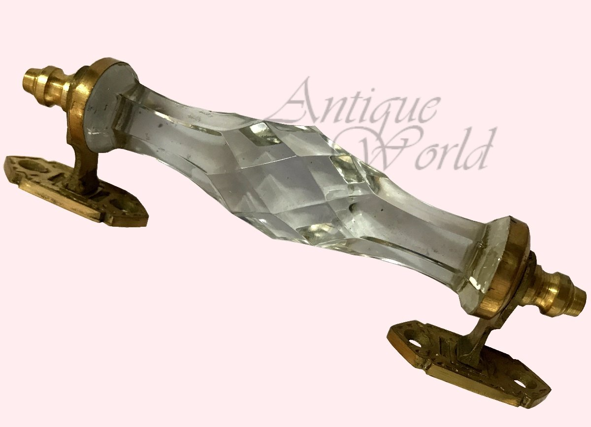 Antiques World Antique Look Beautiful Transparent Blizzard White Crystal & Brass Stylish Handmade Door Handle Door Pull Handles AWUSAHD 08