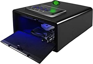 JUGREAT Gun Safe for Pistols with Sensor Light, Pistol Safe with Fingerprint Identification, Quick-Access Gun Safe With Biometric Lock and Digital Key Pad, Anchoring Design for Home Office and Cabinet