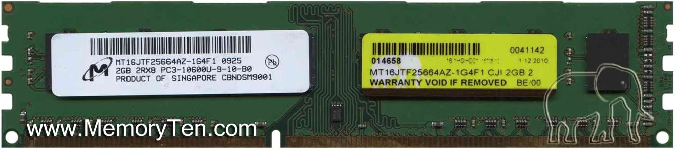 Micron 2GB PC3-10600 DDR3-1333MHz non-ECC Unbuffered CL9 240-Pin DIMM Dual Rank Memory Module MT16JTF25664AZ-1G4F1