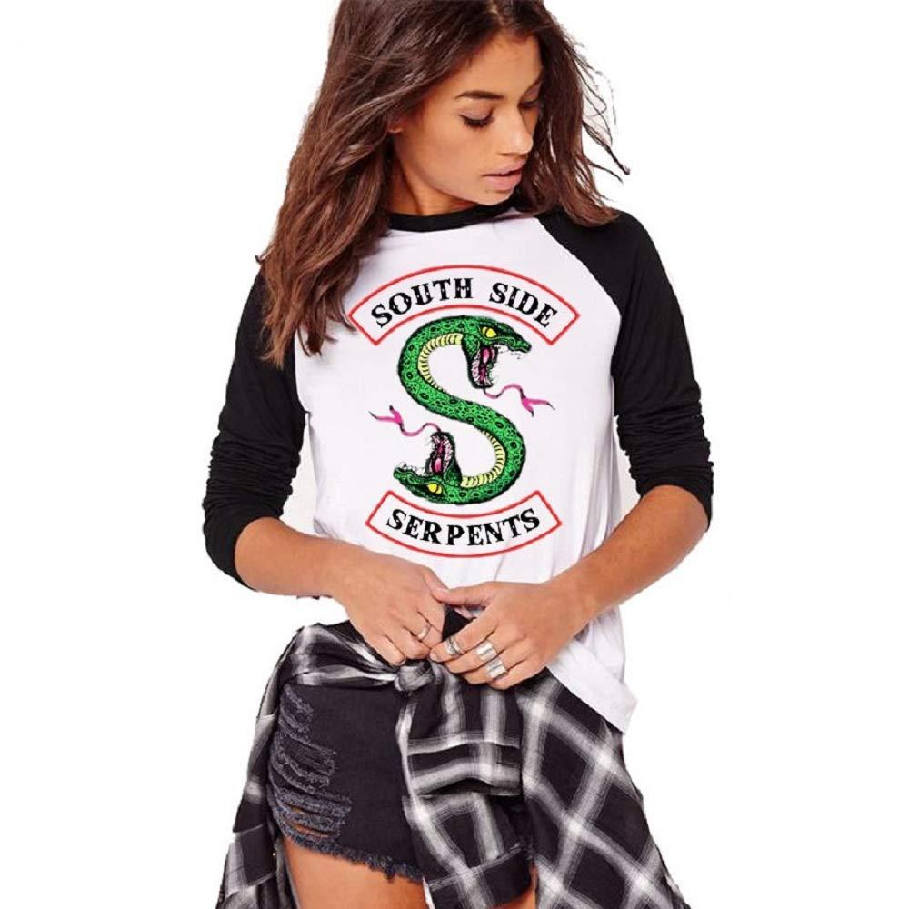 QQI Primavera e Autunno Riverdale-South Side Serpents Stampa Donna Casual T-Shirt a Maniche Lunghe Morbido e Confortevole