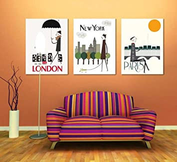 Londra e New York e Parigi Large Wall Art Stampe su tela Immagine ...