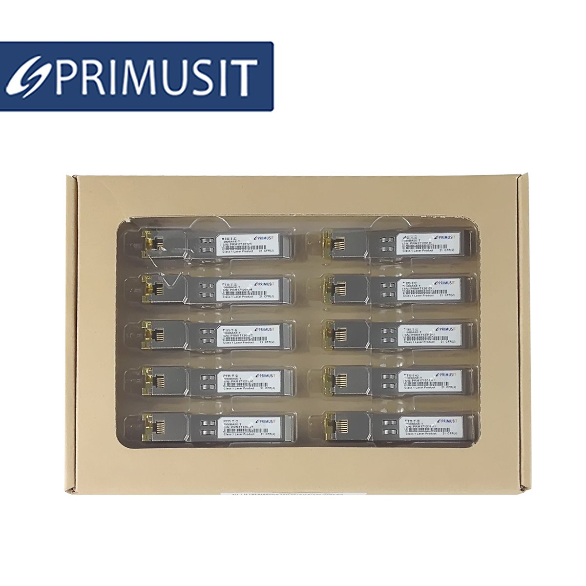 PRIMUSIT 10 Pack 100% Compatible Cisco GLC-T/SFP-GE-T, Gigabit RJ45 Copper SFP, 1000Base-T Transceiver Module by PRIMUSIT