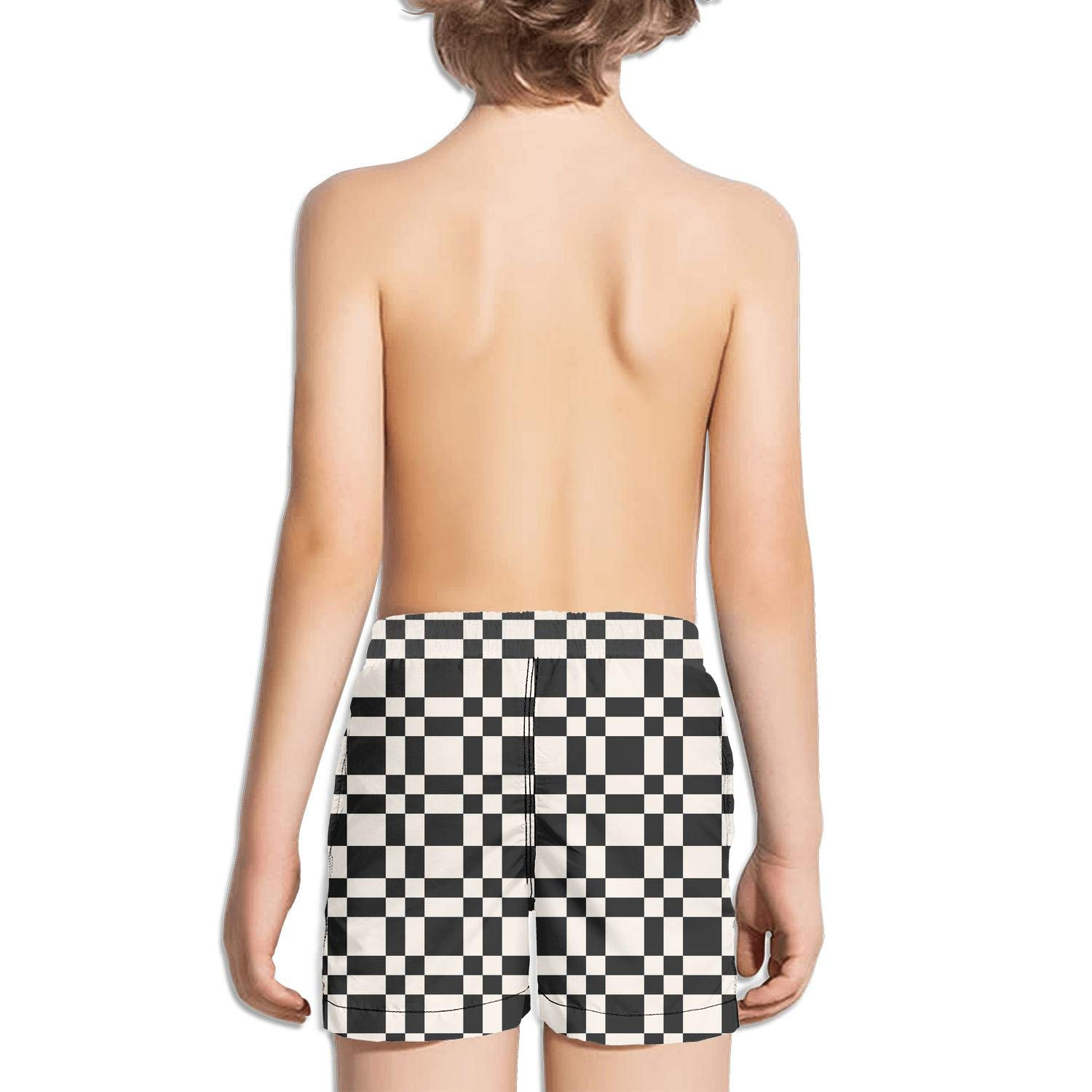 Checkerboard Abstract Monochrome Chequered Surfing Fully Lined Side Split Swim Shorts
