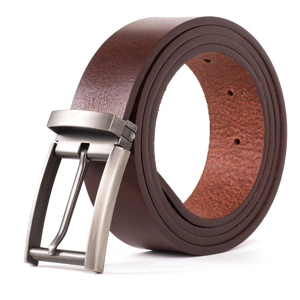 Dycarfell Men Genuine Leather Belt - length is adjustable Delicate gift box,10-Year Warranty (48 in, Brown)