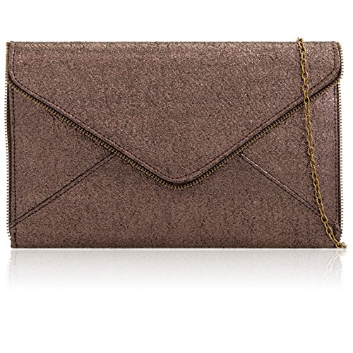 Metallic Women's Envelope Out Shimmer Flat Leather Medium Night for Clutch Xardi Pewter Flap London Prom Bag Faux wAtS8xq7T