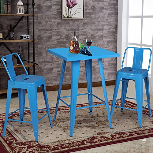 Christies Home Living Metal Indoor-Outdoor Bar Table Set with 2 Barstools (Baby Teal Blue Finish)