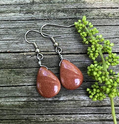 Brown Goldstone Teardrop Earrings
