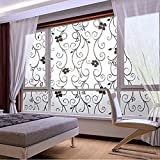 Soledi Sweet Window Film Decorative 45x100cm Frosted Privacy Cover Glass Window Door Black Floral Flower Sticker Film Adhesive Home Room Bathroom Office Decor