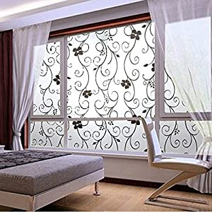 Soledi Sweet Window Film Decorative 45x100cm Frosted Privacy Cover Glass  Window Door Black Floral Flower Sticker Film Adhesive Home Room Bathroom  Office ...