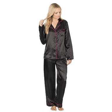Forever Dreaming Womens Satin Pyjama Set - Buttoned Nightshirt   PJ Bottoms  Black S 6654ed618