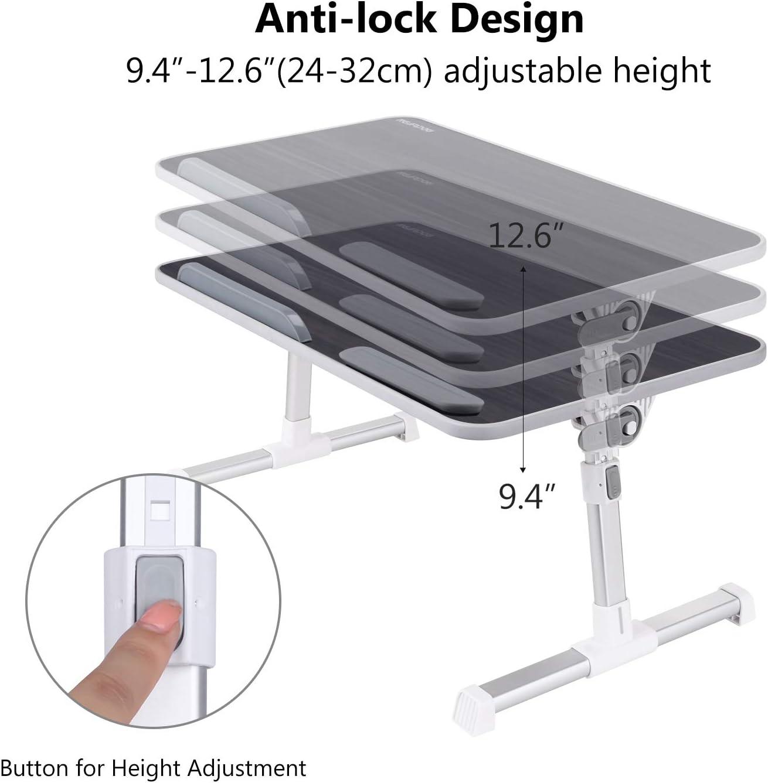 Blanc NearPow Support Ordinateur Portable Plateau de Lit Ordinateur Portable R/églable avec Pieds Pliable Tablette pour Bureau Canap/é